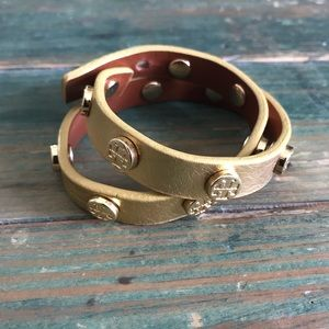 Tory Burch Double Wrap Gold Leather Braclet